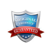 Glossy Shiny Original Product Shield Icon — Stock Vector