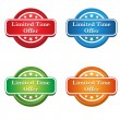 Colorful Shiny Limited Time Offer Tags and Label — Cтоковый вектор #37904425