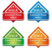 Colorful Shiny Limited Time Offer Tags and Label — Stockvektor