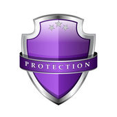 Glossy Shiny Protection Voilet Shield Icon — Stockvektor
