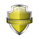 Glossy Shiny Protection Yellow Shield Icon — Stock Vector