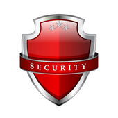 Glossy Shiny Red Vector Shield Protection Icon — Stock Vector