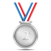 Silver Medal 2nd Position Vector Icon — Stock Vector