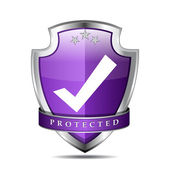 Protected Tick Mark Shield Vector Icon — Stock Vector