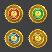 2 Years Warranty Gold Seal Vector Icon — Stock Vector