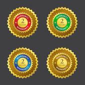 Icône de vecteur de sceau d'or de garantie 2 ans — Vecteur