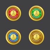 2 years Golden Vector Warranty Seal Icon — Stock Vector