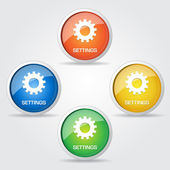 Glossy Setting Button Icon — Stock Vector