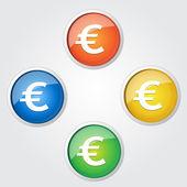 Euro Currency Sign Vector Button — Stockvector