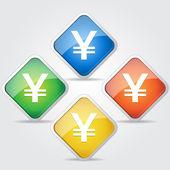 Yen Japanese Currency Vector Button — Stock Vector