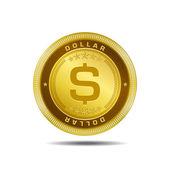 Dollar Currency Sign Golden Coin Vector — Stock Vector