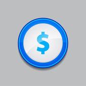 Dolara waluty znak okrągły niebieski wektor web przycisk ikona — Wektor stockowy