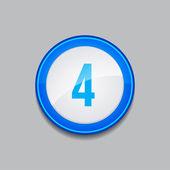 4 Number Circular Vector Blue Web Icon Button — Stock Vector
