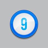 9 Number Circular Vector Blue Web Icon Button — Stock Vector