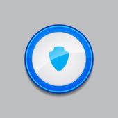Shield Circular Vector Blue Web Icon Button — Stock Vector