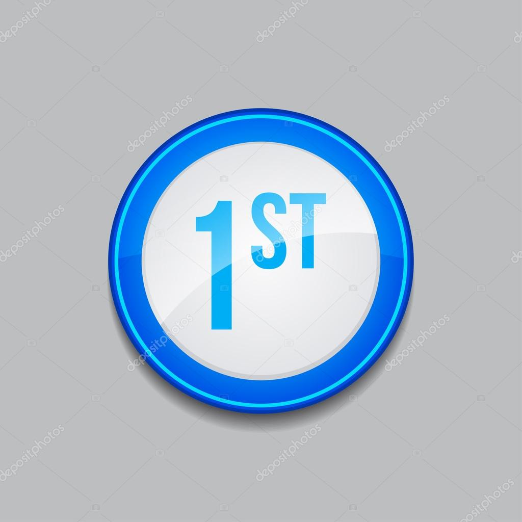 1st Circular Vector Blue Web Icon Button — Stock Vector ...