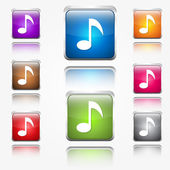 Music Notes Sign Round Corner Vector Web Icon Button Set — 图库矢量图片