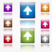 Up Arrow Round Corner Vector Web Icon Button Set — Stock Vector