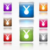 Medalha redonda canto icon botão set vector web — Vetor de Stock