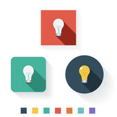 Light Bulb Flat Icon Design Kit Set Collection — Stock Vector
