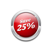 Save 25 Percent Glossy Shiny Circular Vector Button — Stock Vector