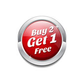 Buy 2 Get 1 Free Glossy Shiny Circular Vector Button — Stock Vector
