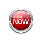 Apply Now Glossy Shiny Circular Vector Button — Stock Vector
