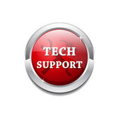 Tech Support Glossy Shiny Circular Vector Button — Vetor de Stock