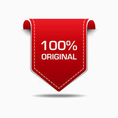 100 Percent Original Red Label Icon Vector Design — Stock Vector
