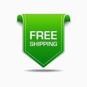 Free Shipping Green Label Icon Vector Design — Stock Vector