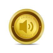 Voulme Circular Gold Vector Web Button Icon — Stock Vector