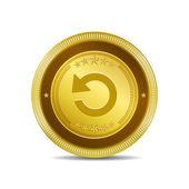 Reset Circular Vector Gold Web Icon Button — Stock Vector