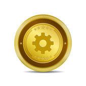 Settings Circular Vector Gold Web Icon Button — Stock Vector