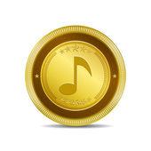 музыка примечание круговой вектор золото веб значок кнопки — Cтоковый вектор
