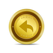 Reset Replay Circular Vector Gold Web Icon Button — Stock Vector