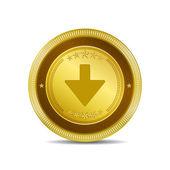 Down Key Circular Vector Gold Web Icon Button — Stock Vector