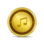 Music Note Circular Vector Gold Web Icon Button — Stock Vector