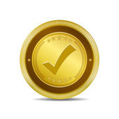 Tick Mark Circular Vector Gold Web Icon Button — Stock Vector