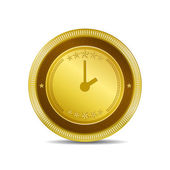 Clock Circular Vector Gold Web Icon Button — Stock Vector