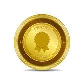 Medal Circular Vector Gold Web Icon Button — Stock Vector