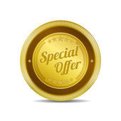 Special Offer Gold Vector Icon Button — Stock Vector