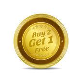 Buy 2 Get 1 Free Glossy Shiny Circular Vector Button — Stock Vector
