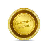 Customer Satisfaction Gold Vector Icon — Stock Vector