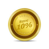 Save 10 Percent Glossy Shiny Circular Vector Button — Stock Vector