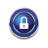 Protected Circular Blue Vector Web Button Icon — Stock Vector