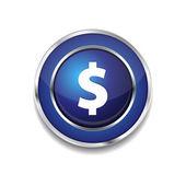 Dollar Currency Sign Circular Blue Vector Web Button Icon — Stock Vector