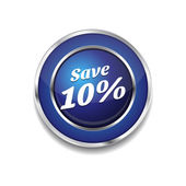 Save 10 Percent Glossy Shiny Circular Vector Button — Stock vektor