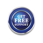 Free Support Glossy Shiny Circular Vector Button — Stock Vector
