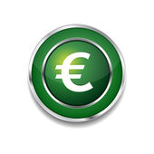 Euro Currency Sign Circular Vector Green Web Icon Button — ストックベクタ