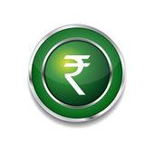 Rupee Currency Sign Circular Vector Green Web Icon Button — 图库矢量图片